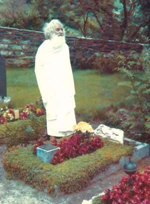 Swami Gauribala at the grave of Stefan George in Switzerland